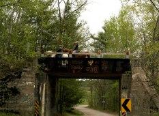 Alison and Dianne crossing the railway bridge